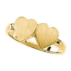 2 Personalized Initials Double-Heart Gold Signet Ring
