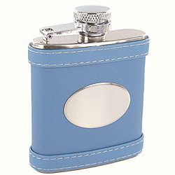 Personalized 2.5 oz. Blue Leather Flask
