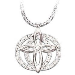 Forever Love Diamond Cross Pendant Eternity Necklace