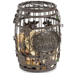 Wrought Iron Vineyard Barrel Wine Cork Art Cage