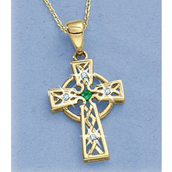 Sparkling Celtic Gold Cross Necklace