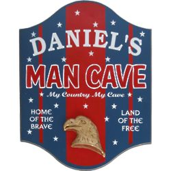 My Country, My Cave Personalized Man Cave Sign