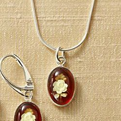 Amber Intaglio Rose Necklace