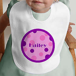 Pink and Purple Polka Dot Personalized Girl's Baby Bib