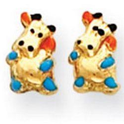 Girl's 14K Yellow Gold Enamel Cow Earrings