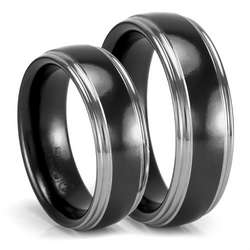 Black and Grey Titanium His and Her Wedding Bands