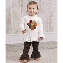 Baby Girl Thanksgiving Turkey Tunic and Leggings