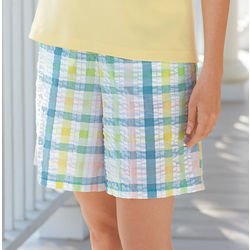 Plaid Seersucker Pocketed Shorts