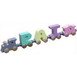 Wooden Three Letter Name Train with Engine and Caboose
