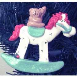 Personalized Baby's 1st Christmas Green Rocking Horse Ornament