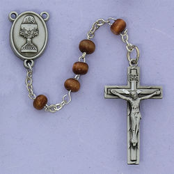 Engravable Pewter Communion Rosary with Brown Wood Beads