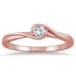 Diamond Solitaire Wrap Ring in 10 Karat Rose Gold