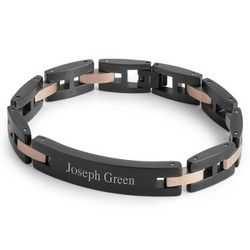 Black and Rose Gold ID Bracelet