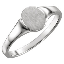 Lady's Oval Signet Ring in 14K White Gold