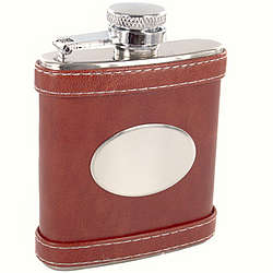 Personalized 2.5 oz. Brown Leather Flask
