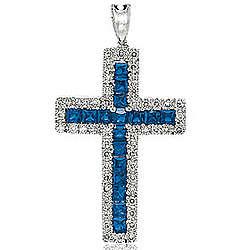14K W Gold Blue Sapphire .25 Ct Diamond Cross Pendant