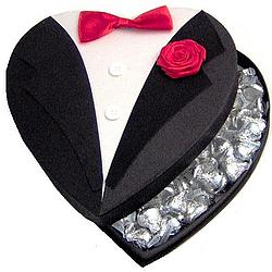 Tuxedo Heart Filled with Chocolate Kisses