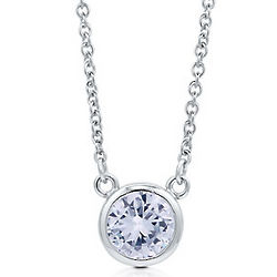 Sterling Silver Aquamarine Cubic Zirconia Solitaire Necklace