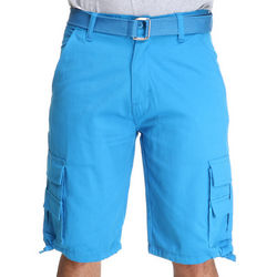 Mens Blue Belted Twill Cargo Shorts