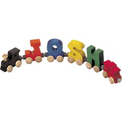 Wooden Four Letter Name Train with Engine and Caboose