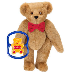 Classic Bowtie Teddy Bear with Bear Rattle