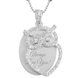 Cubic Zirconia Bling Owl Necklace with Swing Pendant