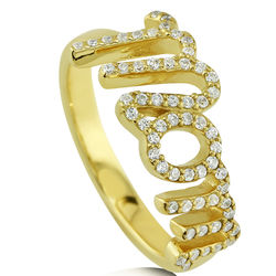 Gold Plated CZ Mom Ring