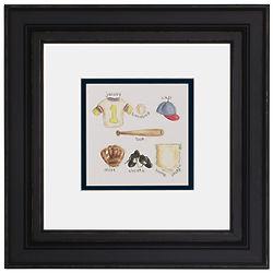 Framed Baseball Art Print for Boy's Room