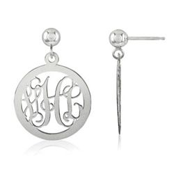Personalized Sterling Silver Monogram Medallion Earrings