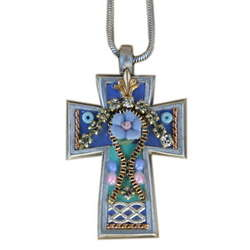 Pewter Cross in Royal Blue and Green