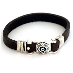 Leather Star Of David Kabbalah Bracelet