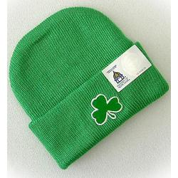 Newborn Knit Hat with Shamrock