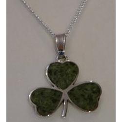 Large Sterling Silver Shamrock Connemara Marble Pendant