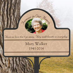 Personalized Forever in Our Hearts Memorial Photo Garden Stake