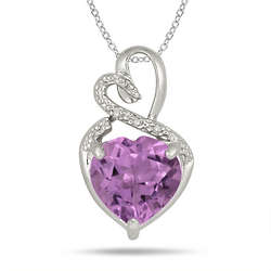 Sterling Silver 4 Carat Amethyst and Diamond Heart Pendant