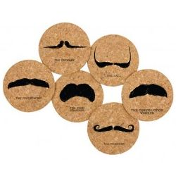 Recycled Cork Mustache Coasters