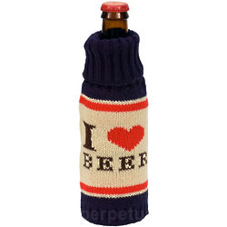 I Love Beer Knit Koozie