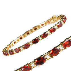 Garnet and Cubic Zirconia Eternity Bracelet