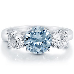 Round Cut Aquamarine Cubic Zirconia Sterling Silver 3 Stone Ring