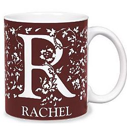 Small Personalized Burgundy Initial Mug