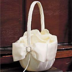 Elegant Satin Bow Flower Girl Basket