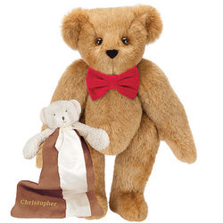 Classic Bowtie Teddy Bear with Bear Buddy Blanket