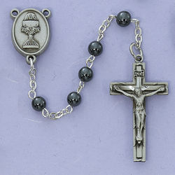 Engravable Pewter Communion Rosary with Hematite Beads