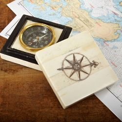Nautical Bone Desk Compass