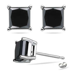 Black Diamond Princess Studs 1 1/2 Ct in 14K White Gold