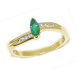 Emerald Marquise Gemstone and Diamond Yellow Gold Ring