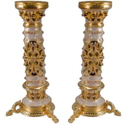 Ornate Gemstone Shabbat Candlesticks