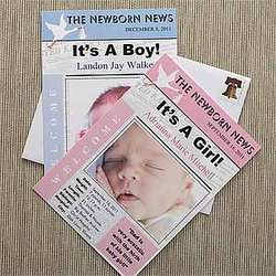 Newspaper Headline Photo Baby Announcement