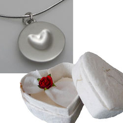 Satin Silver Melting Heart Necklace in Heart Shaped Box