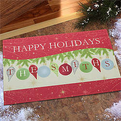 Personalized Deck the Halls Christmas Doormat
